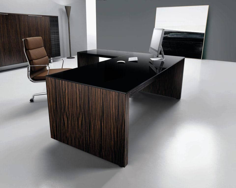 MODI Panel Ended Desks with Black Glass Top and Legs in Ebony by LAPORTA