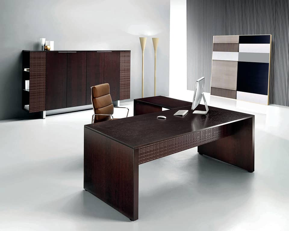 MODI Panel Ended Desks with Wood Top in Dark Oak by LAPORTA