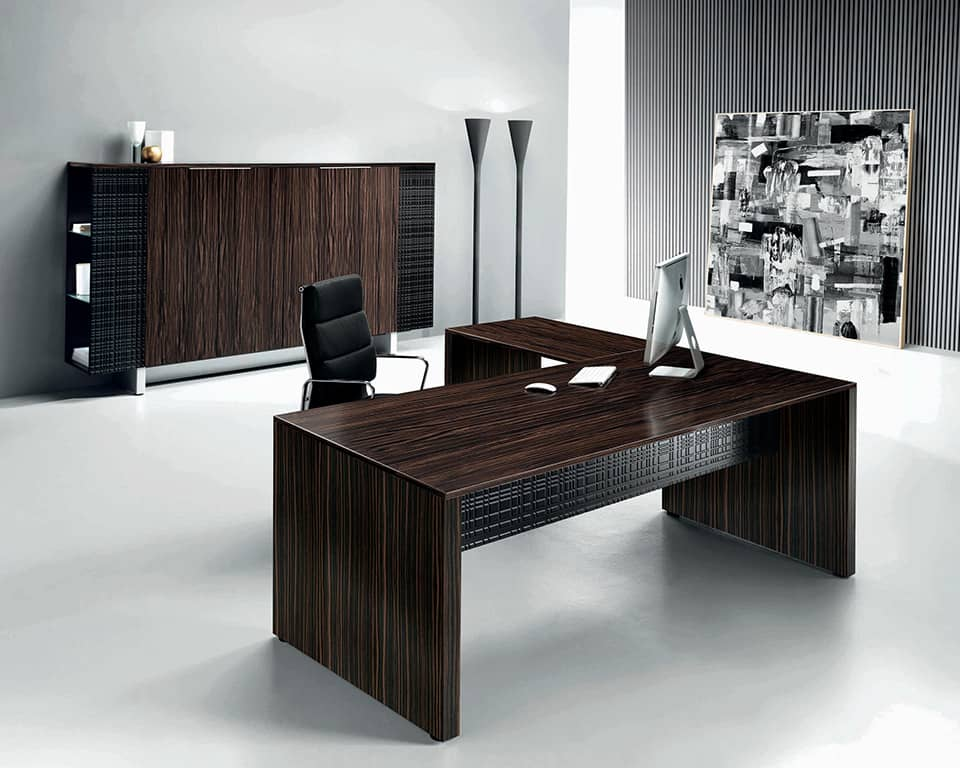 MODI Panel Ended Desks with Wood Top in Ebony by LAPORTA