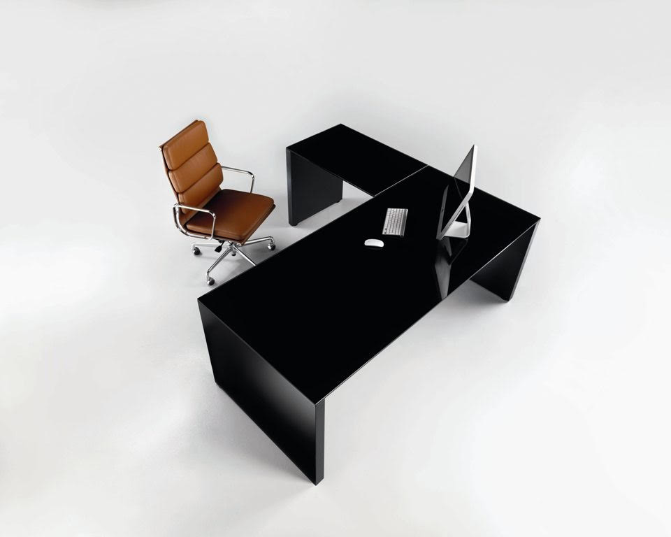 MODI Panel Ended Desks with Black Glass Top by LAPORTA