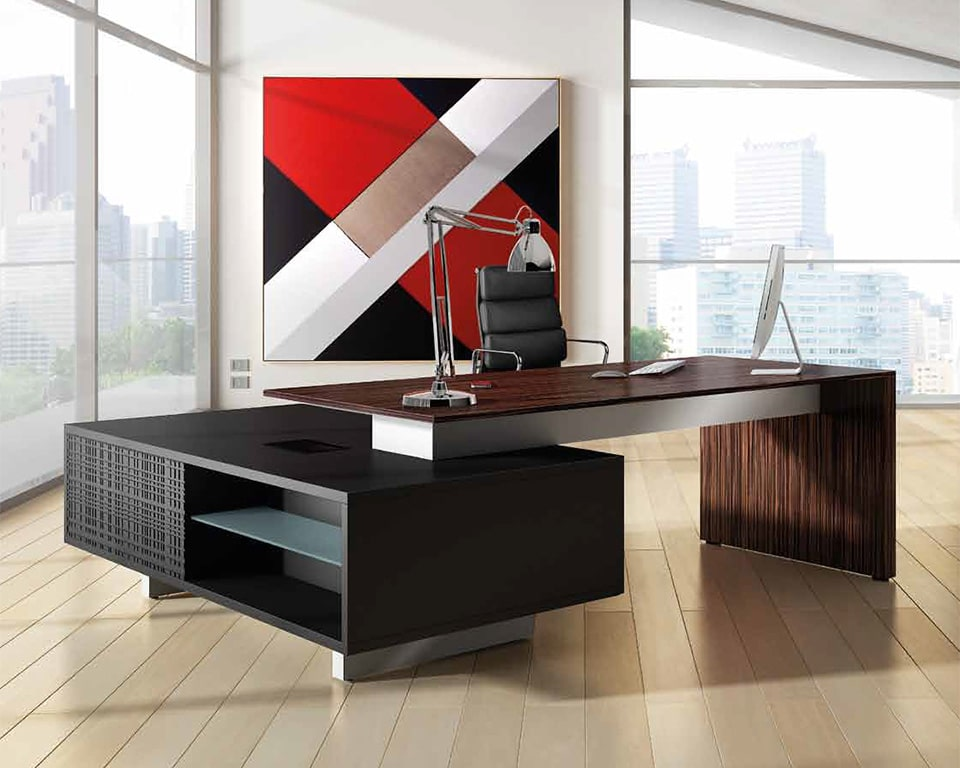Modi Executive desks with black glass , white glass or real wood tops