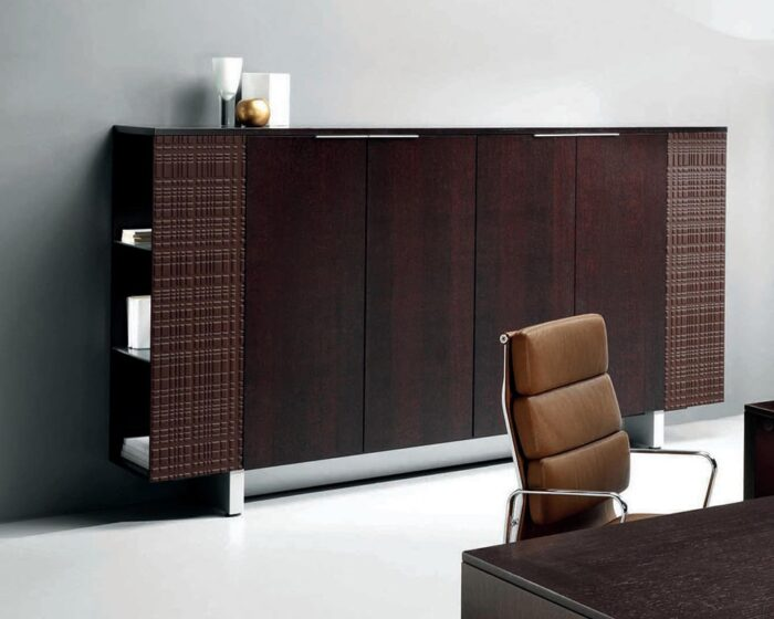 Modi sideboards and cupboards to match Executive desks with black glass , white glass or real wood tops
