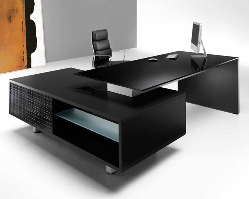 MODI 90 Executive Desks with Black Glass Top by LAPORTA