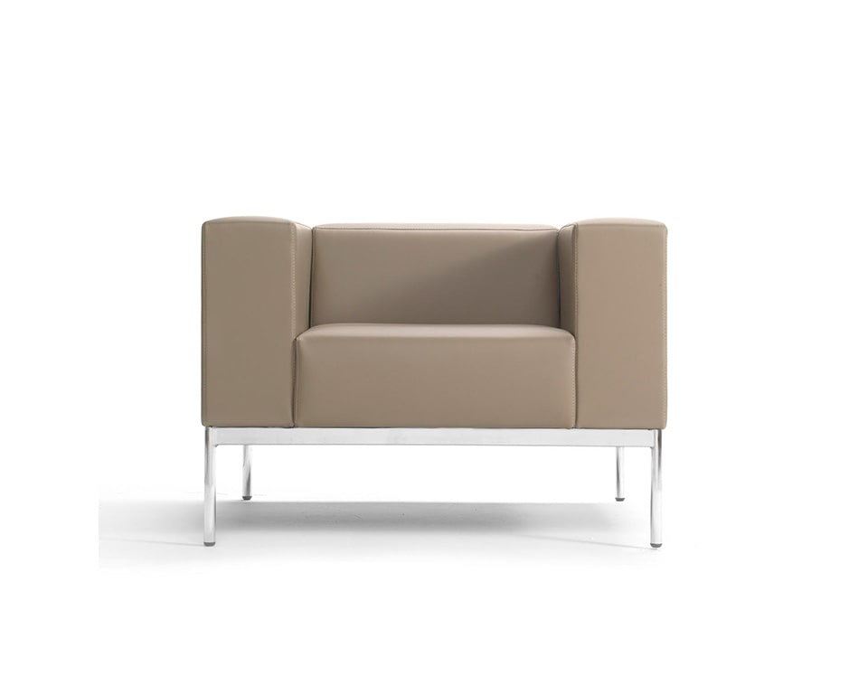Bb3 High quality stylish Italian armchair in Taupe colour leather