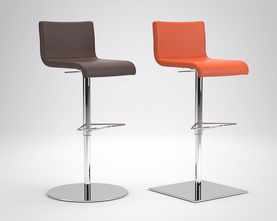 Amba Commercial bar stools are Luxury high quality adjustable bar stools in round or square base design is shown here in orange or brown leather