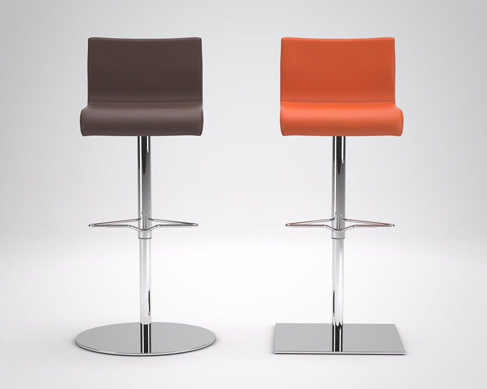 Amba Kitchen bar stools are Luxury high quality adjustable bar stools in round or square base design shown here in orange or brown leather
