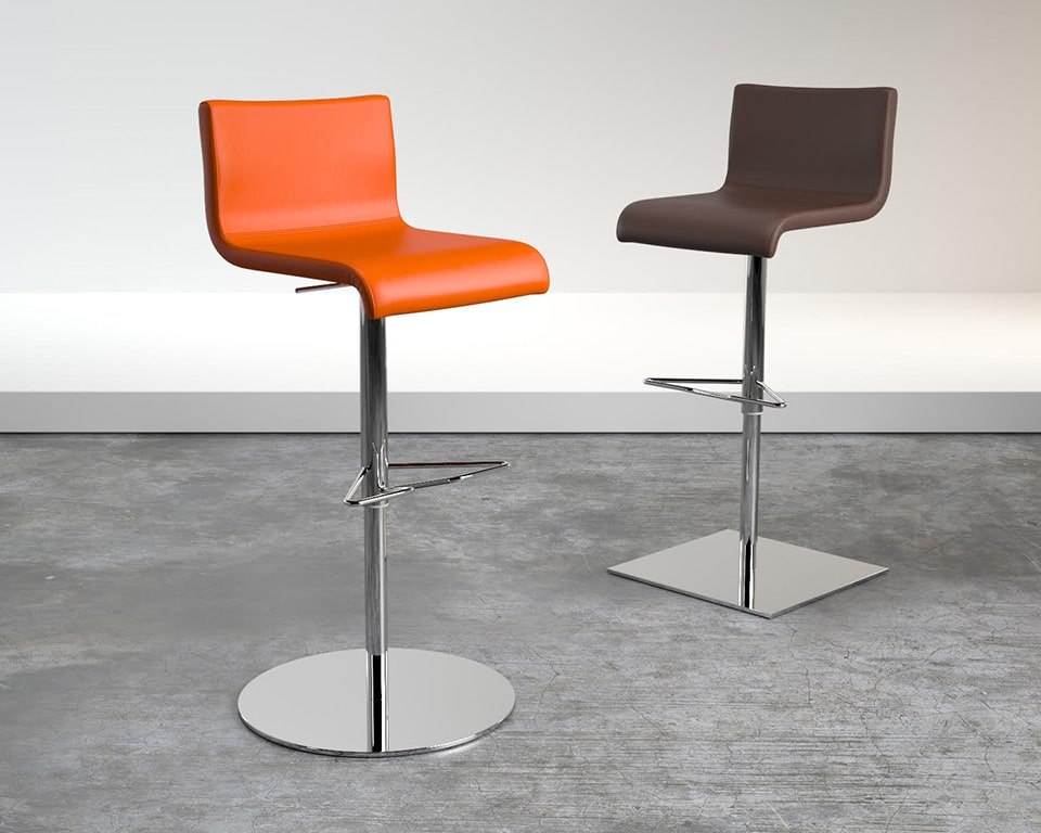High end Amba bar stools are Luxury high quality adjustable bar stools in round or square base design in real Italian top grain leather