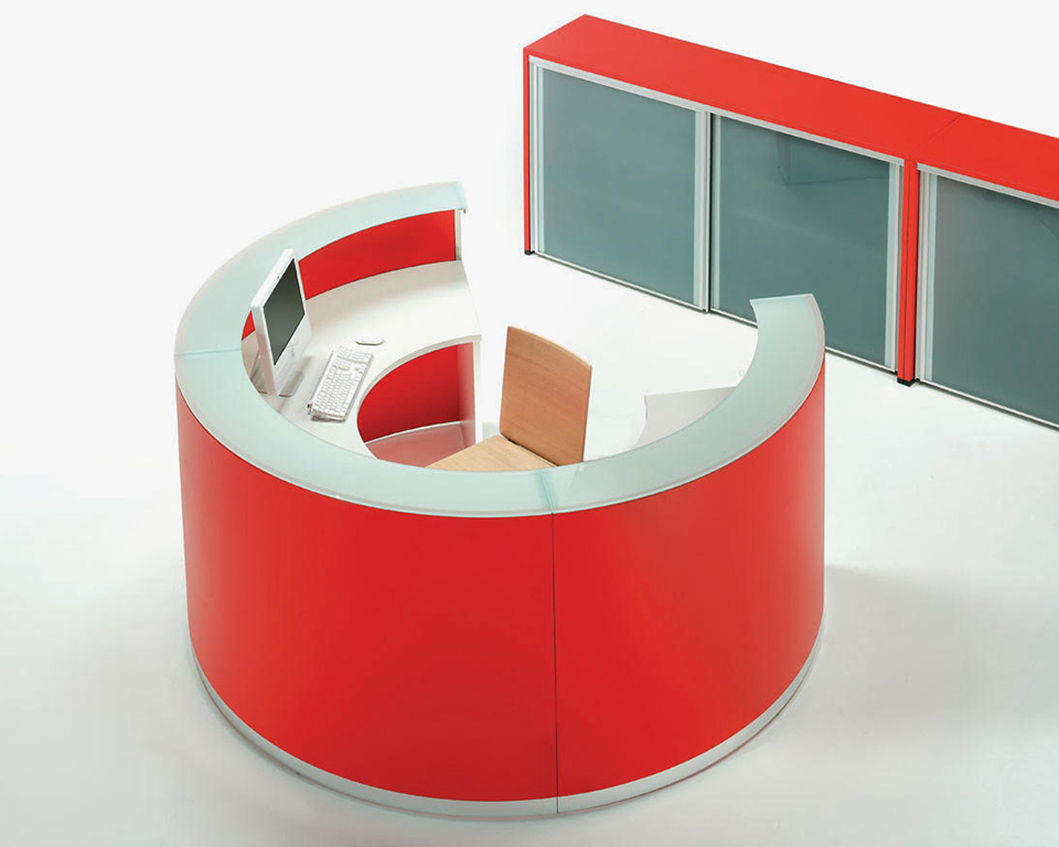 bg-curved- designer reception desks with glass counter top circular composition in red