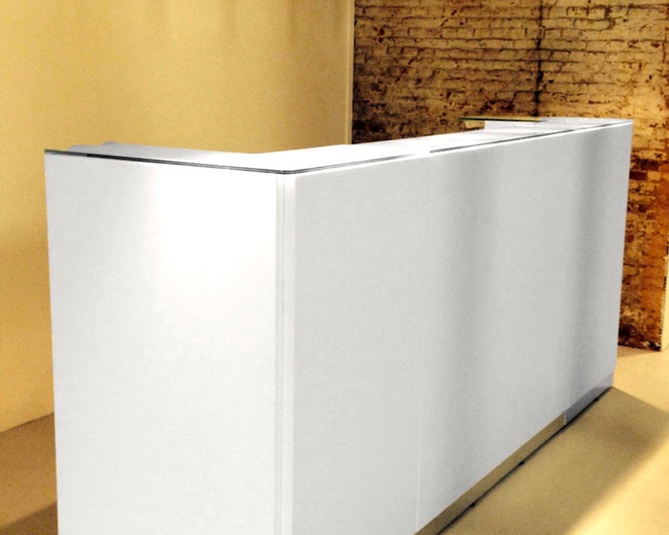 Bengentile designer reception desks with glass counter top rectangular composition in white