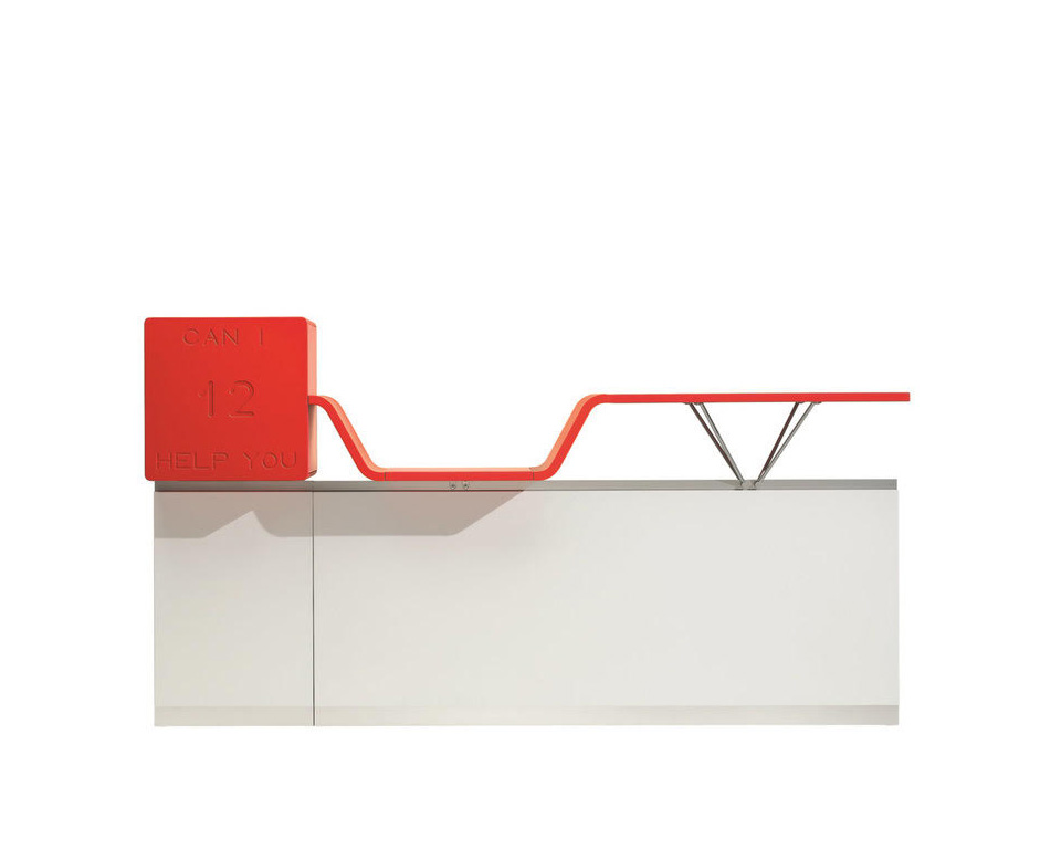 cihy-reception-designer desks for reception with floating double height counter tops and red welcome box