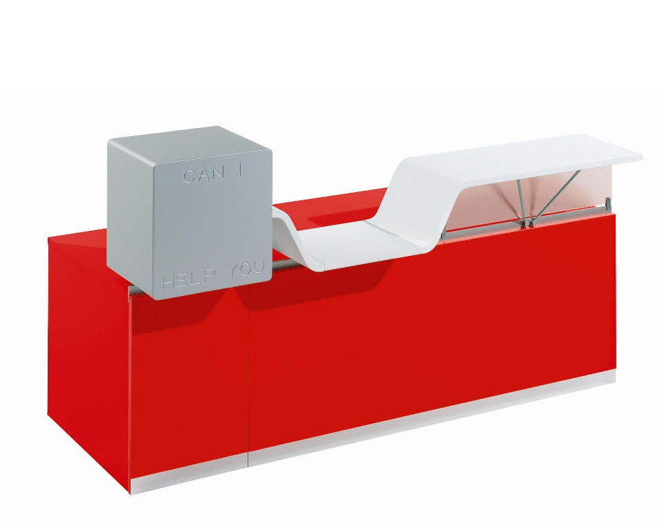 cihy-reception-designer desks for reception with floating double height counter tops in red with grey welcome box