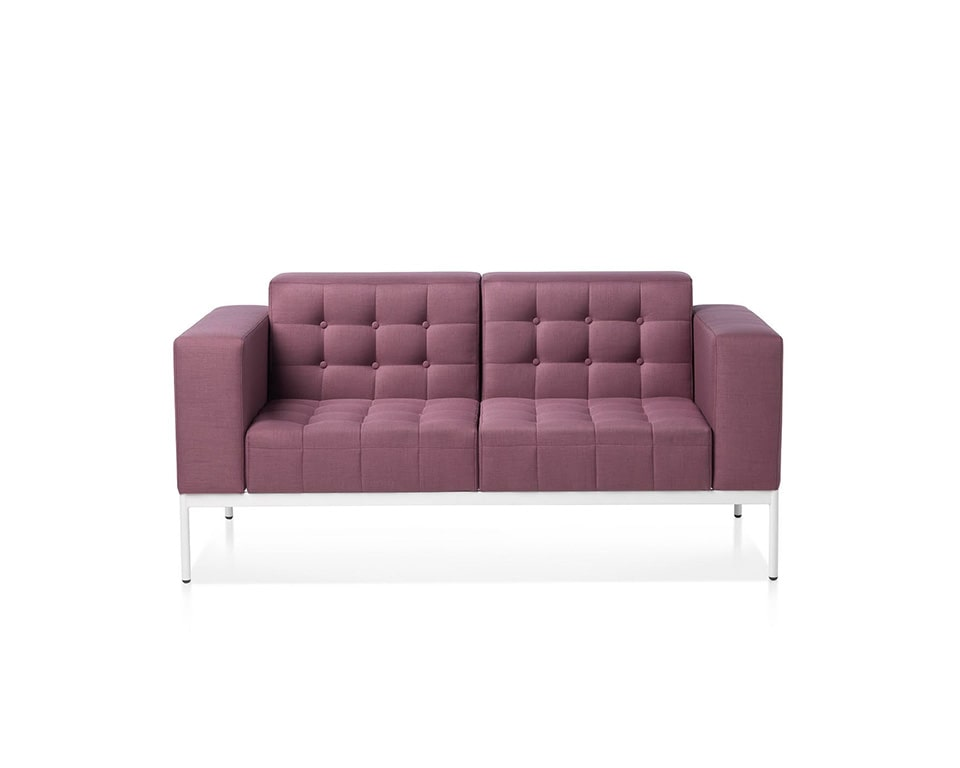 class made-two seat executive style designer sofa with buttons in fabric