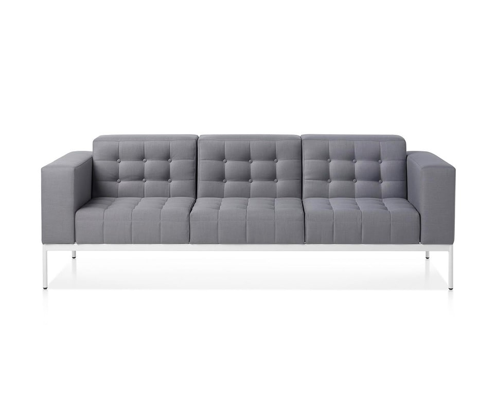 class made-three seat executive style designer sofa with buttons in grey fabric