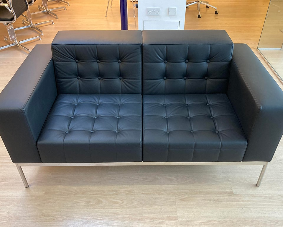 class made- executive style designer two seat office sofa with buttons in black leather