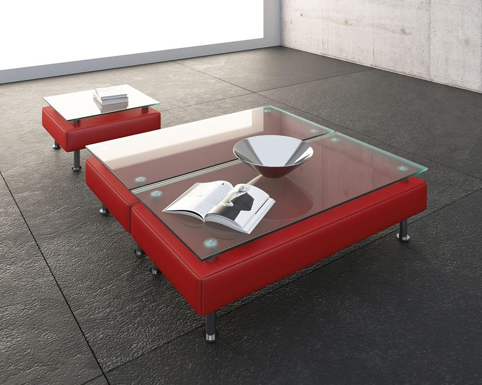 cube-sofas-Italian office sofa range matching upholstered coffee tables in red leather