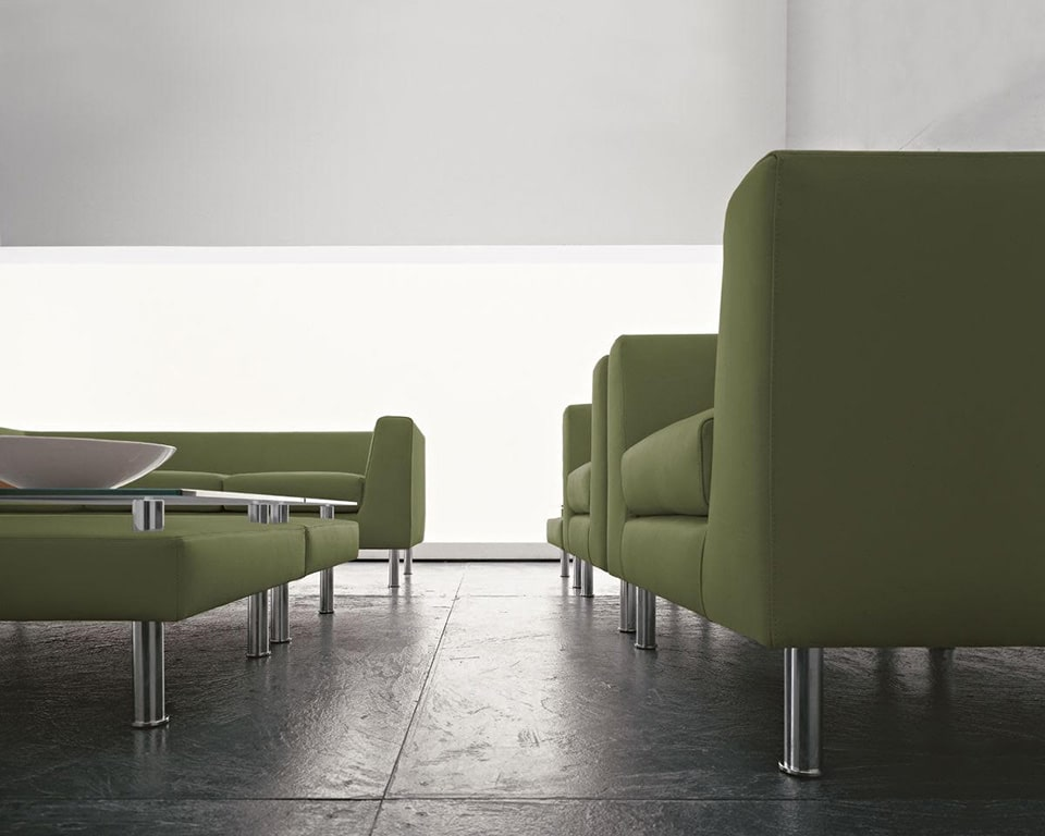 cube-sofas-Italian office sofa range in green fabric