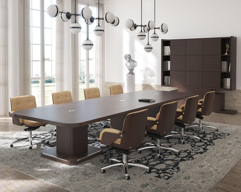 Edoc luxury Italian boardroom tables in high quality wood with leather inlaid top