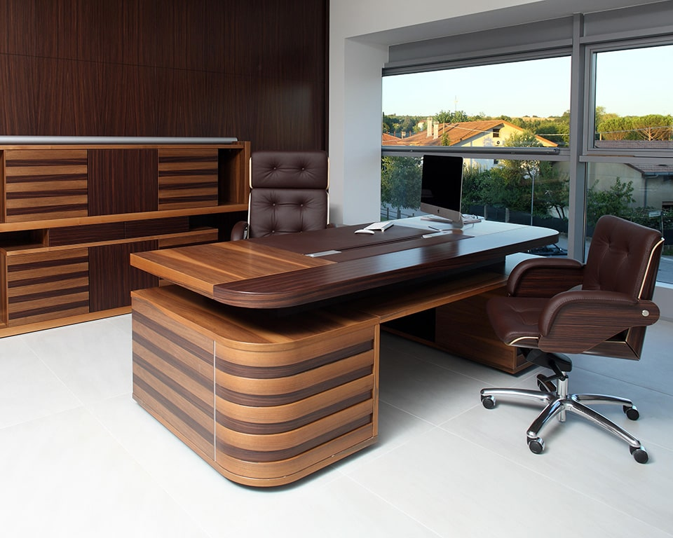 Edoc CEO double pedestal luxury executive desks in high quality wood with leather inlaid top