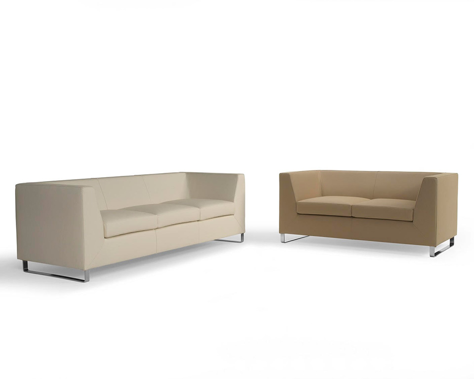 Go Beyond Three and Two seat sofa for offices and reception areas in Italian leather