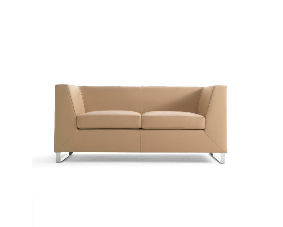 Go Beyond Two seat sofa for offices and reception areas in Italian leather