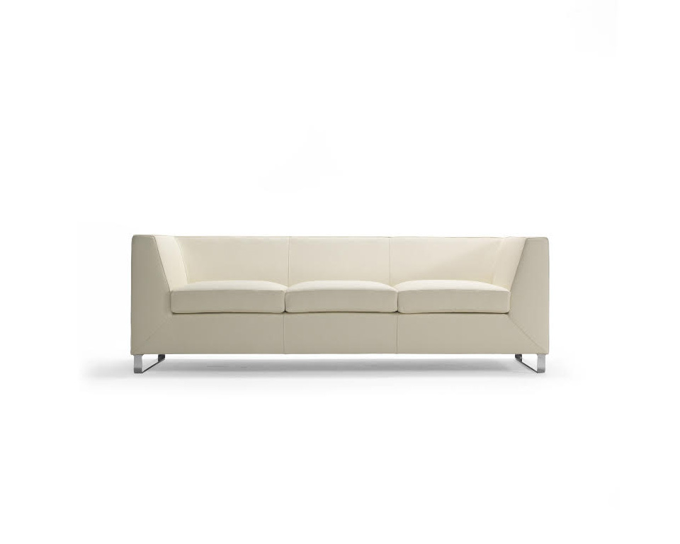 Go Beyond Three seat sofa for offices and reception areas in white leather