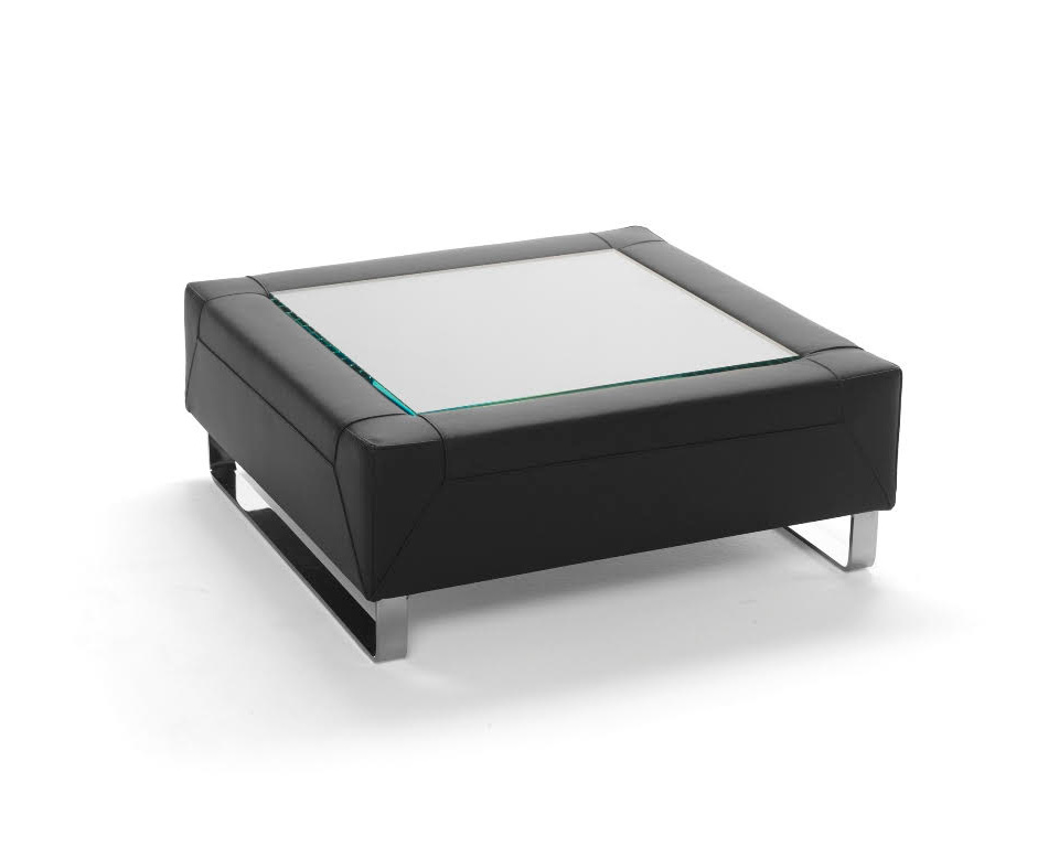 Go Beyond upholstered coffee table with glass inlay top for offices and reception areas in black leather