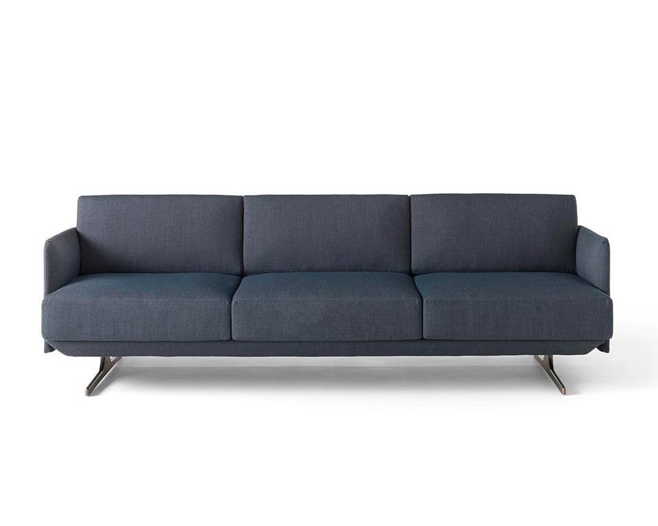 designer arm chair and Italian sofa range in blue fabric 3 seat sofa