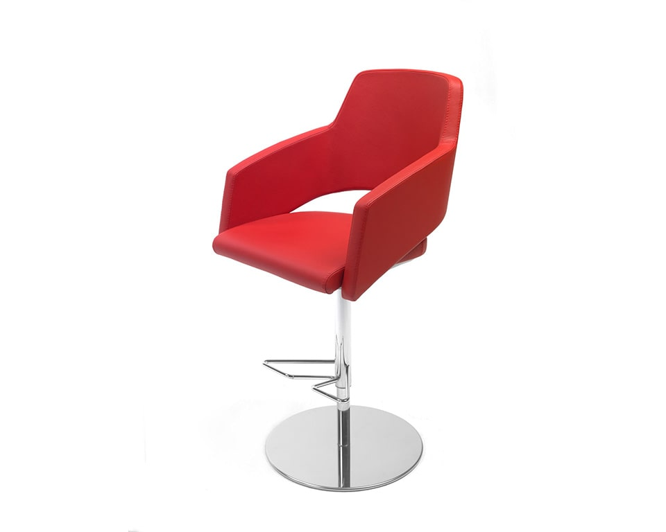 Major is a luxury high quality Italian dining style bar stools with arms and a round or square base upholstered here in red leather or fabric> It is Height adjustable and very stylish for your high end kitchen dining bar areas
