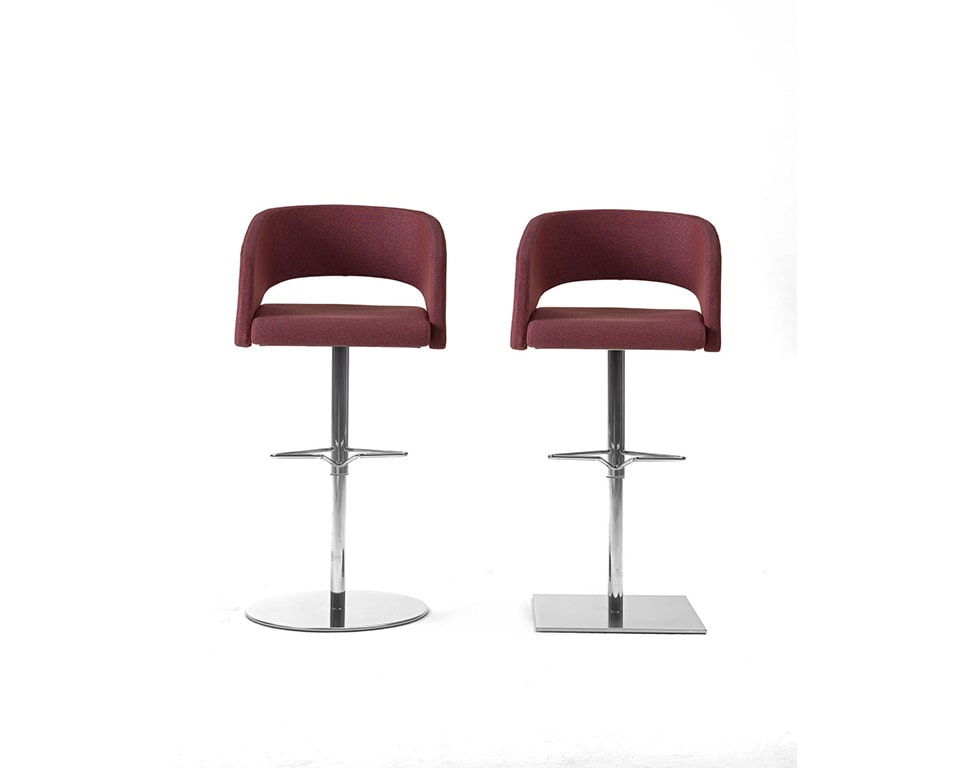 Major luxury lower back Italian dining style bar stools with arms round or square base upholstered in leather or fabric. Shown here with polished round or square bases