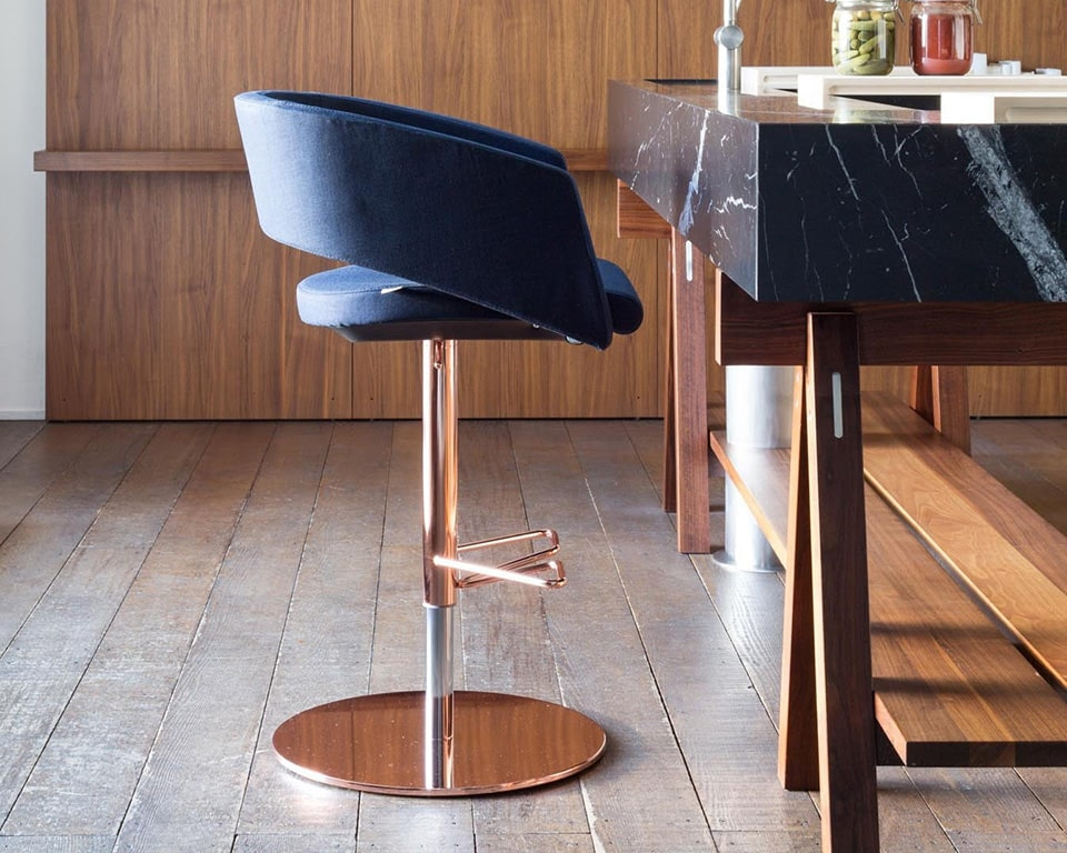 Major Lower back dining bar stool in kitchen bar setting with a copper or gold frame