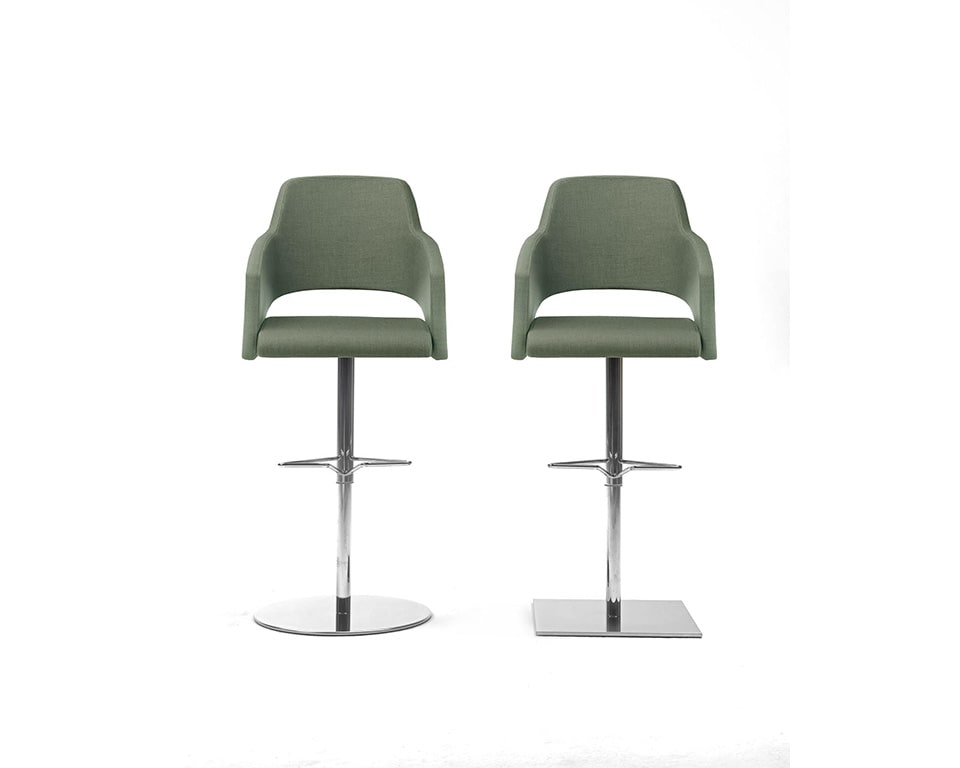 Major are high - end luxury Italian dining style bar stools with arms round or square base upholstered in leather or fabric