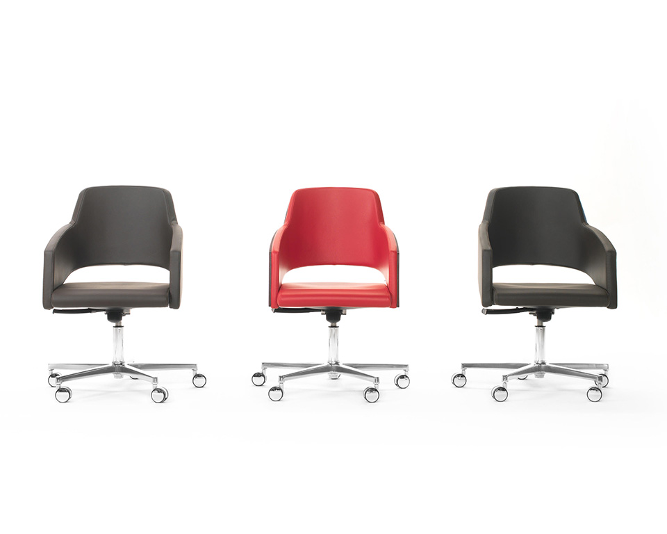 Major compact higher back range of home office chair in leather or fabric gas lift and tilt mechanism