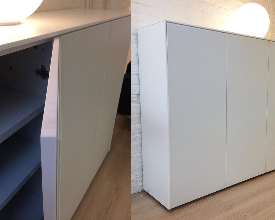 Minimum flush fronted glass and lacquered office cupboards and sideboards