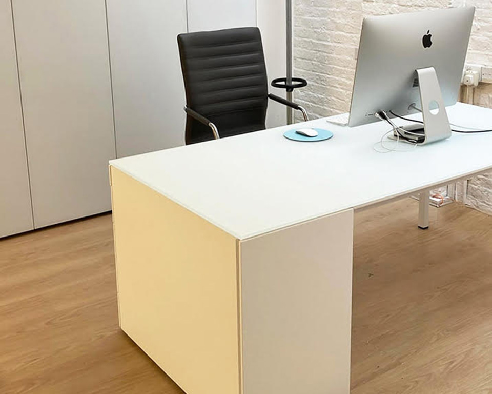 minimum-executive-desks with pedestal storage and satin glass desk tops