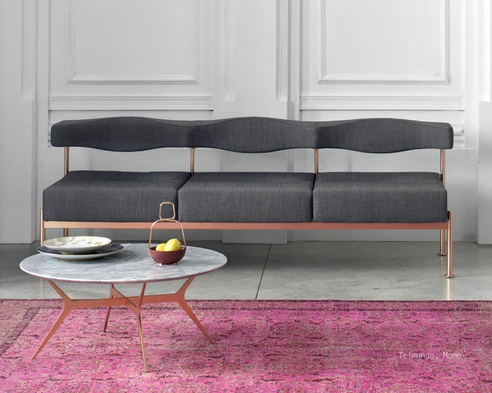 momo-three seat bench style sofa for reception seating areas in grey fabric with copper leg frame