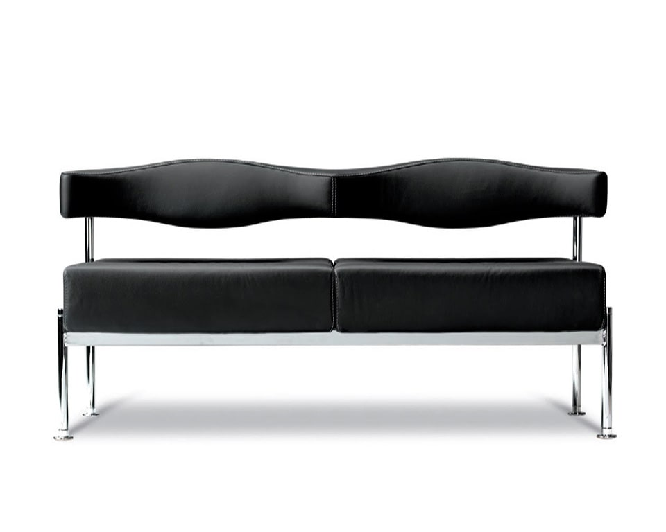 momo-two seat bench style sofa for reception seating areas in black leather