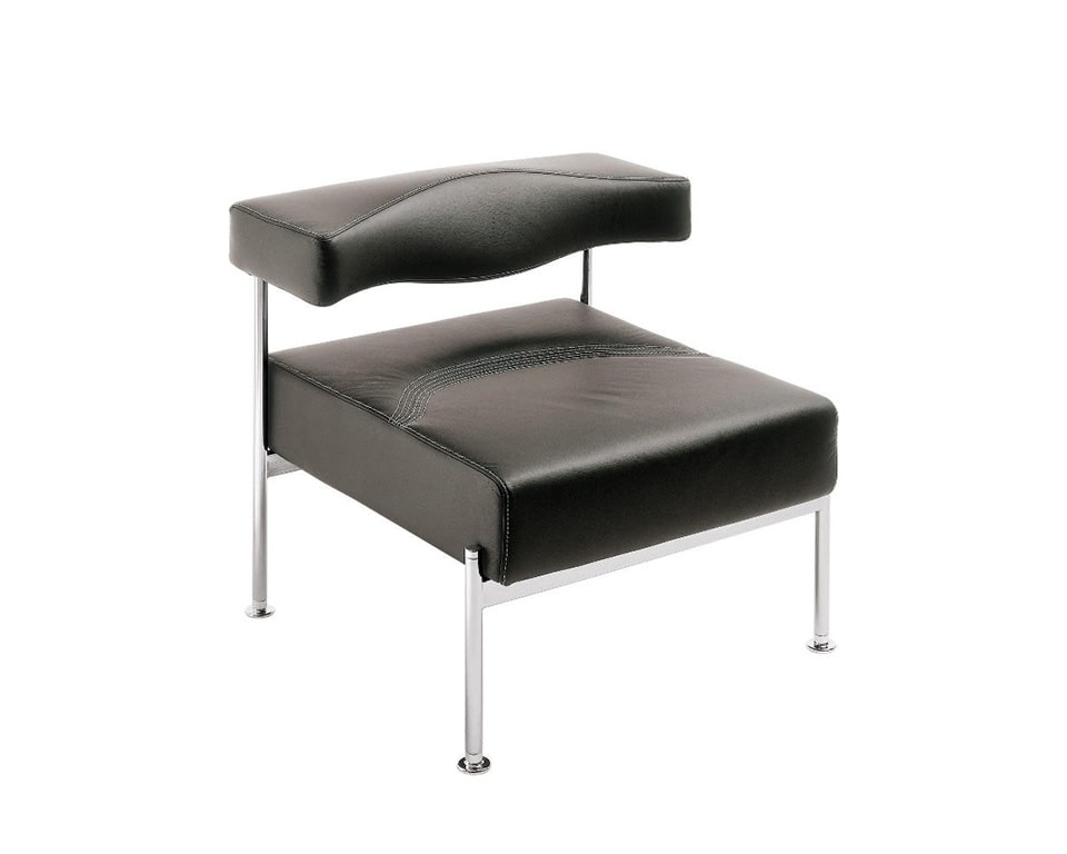momo-single seat bench style sofa for reception seating areas in black leather