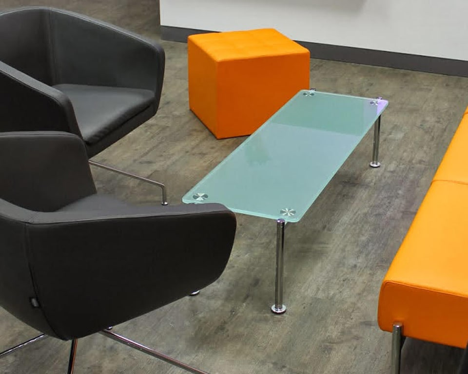 momo-rectangular acid etched glass coffee tables with black leather gingko chairs orange sigpouf