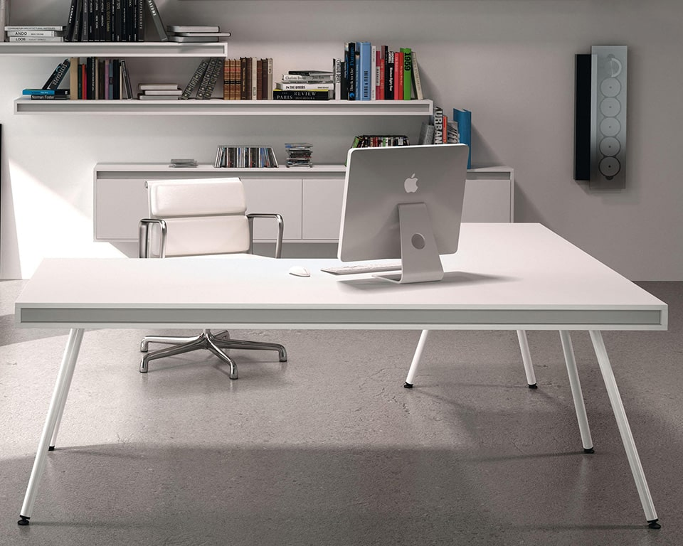 ON Designer Desks shown here with a side return in white lacquer and white legs. ON designer desks are modern and available in a number of suitable home office desk sizes