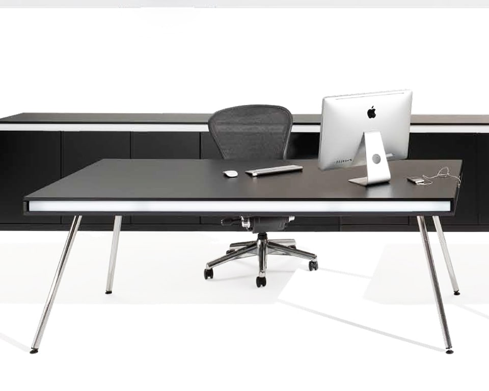 ON designer desks with side return in black lacquer and chrome legs