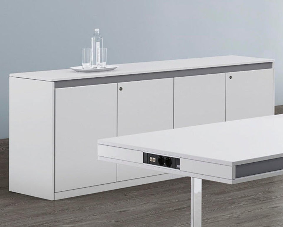 ON designer desks with side return in white lacquer and chrome legs