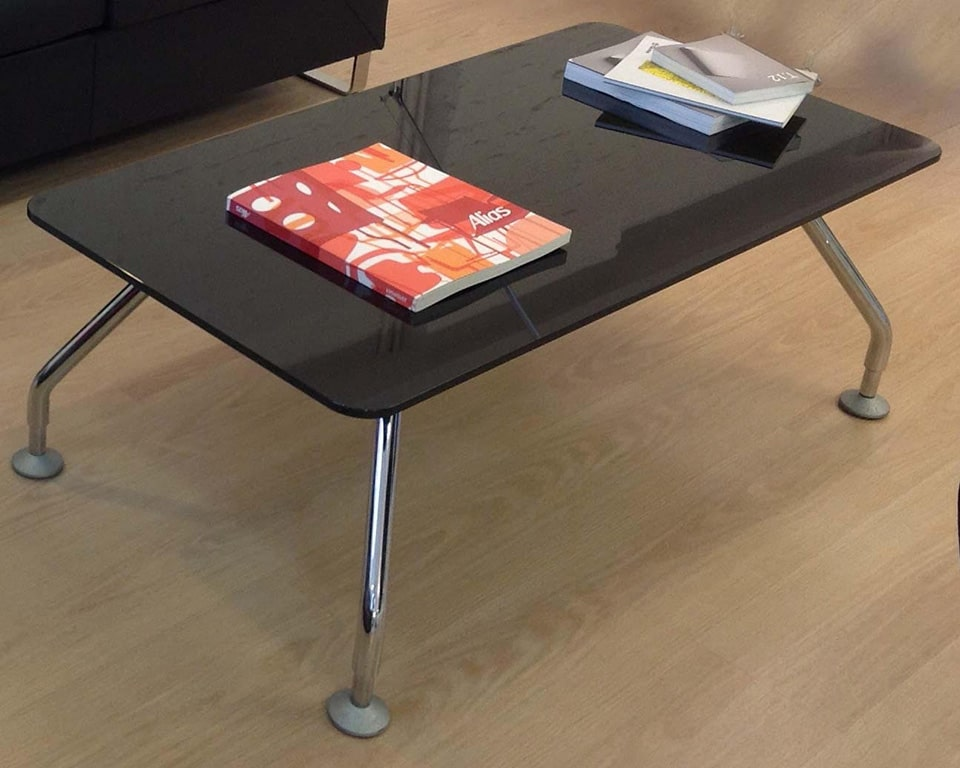 Prospero coffee tables to match Prospero designer desks with white glass desk tops and lacquered structural storage