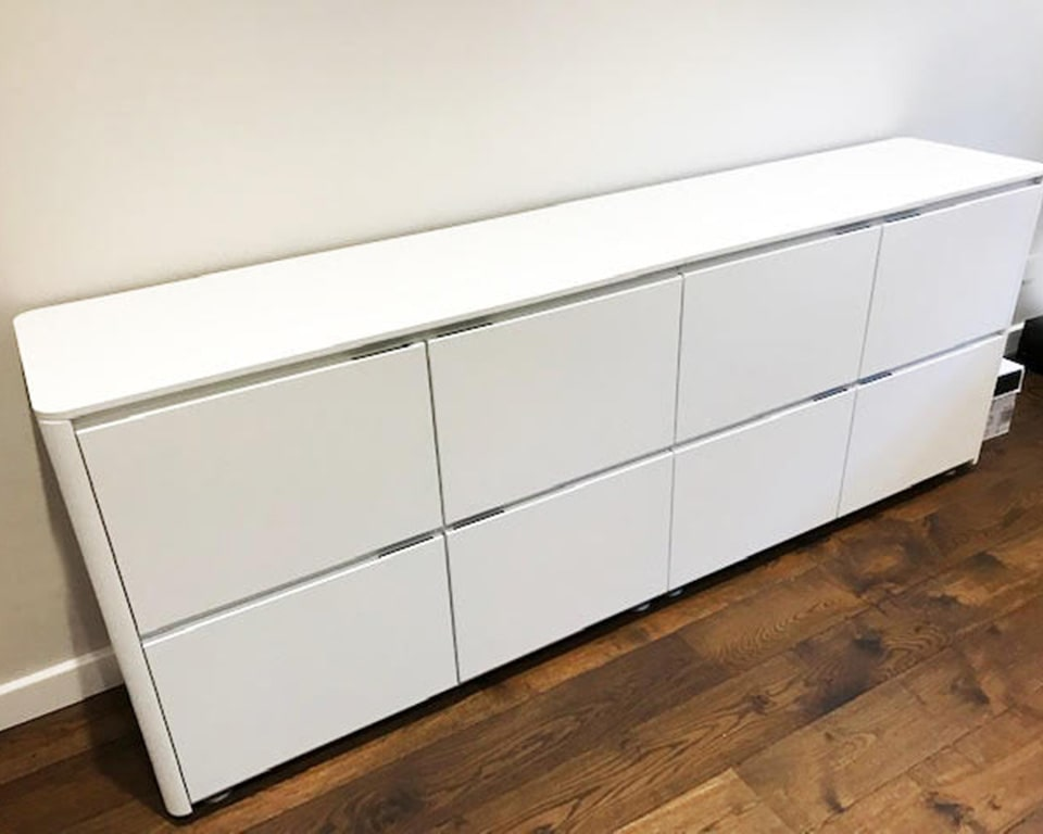 Prospero sideboards and cupboards to match Prospero designer desks with white glass desk tops and lacquered structural storage