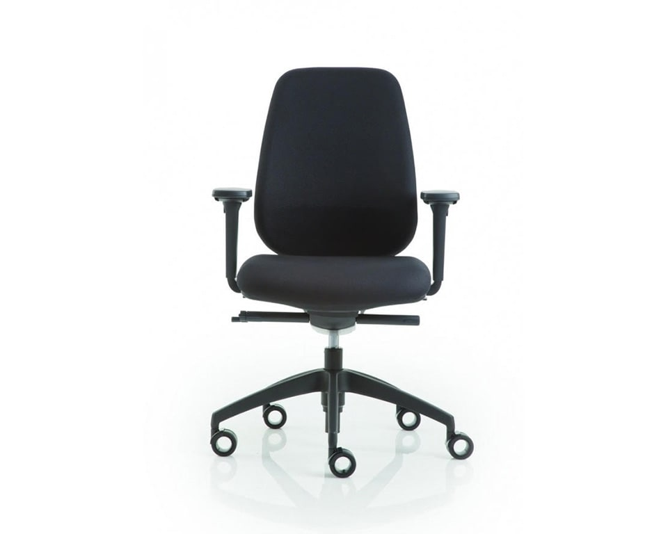 pratica-chairs-7- Italian task office chairs in black fabric with height adjustable arms