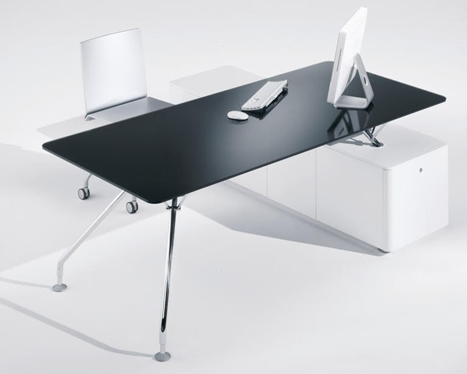 Prospero large black glass designer desks for executives and home offices with black glass desk tops and matt white or black lacquered structural storage and chrome legs