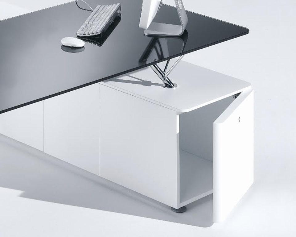 Prospero designer desks with glass desk tops and lacquered structural storage