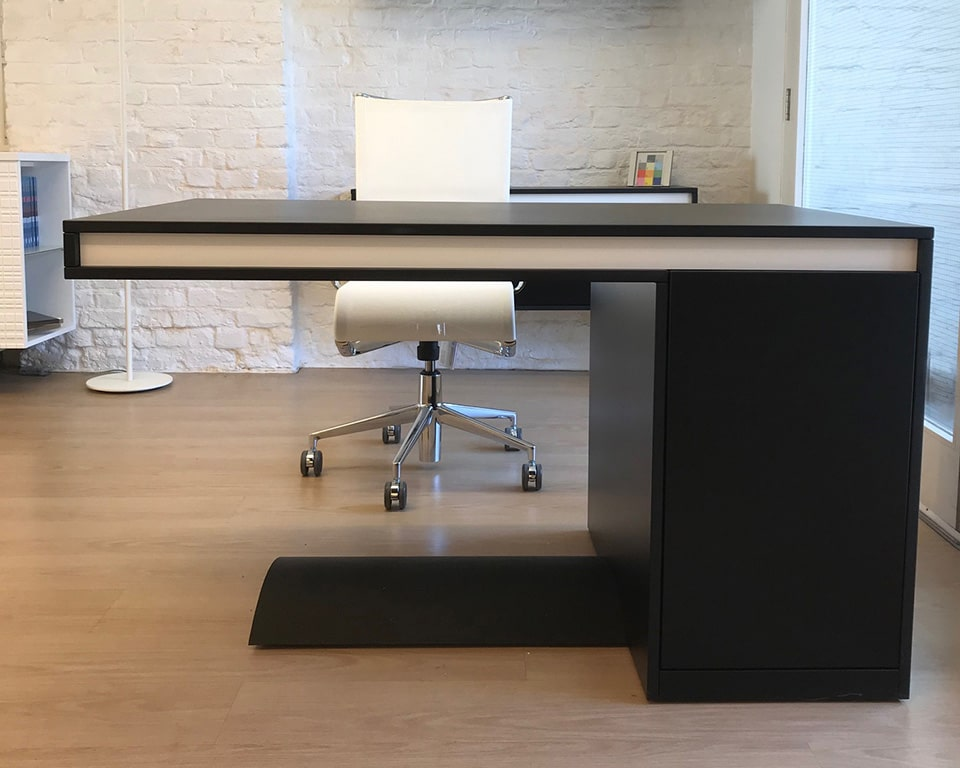 Short Friday small 1300 x 800 high quality home office desk with wire management and storage with white mesh home office chair