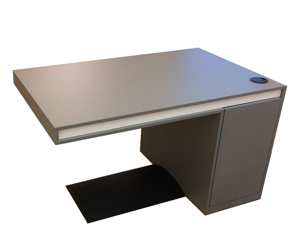 Short Friday small 1300 x 800 home office desk with wire management and storage