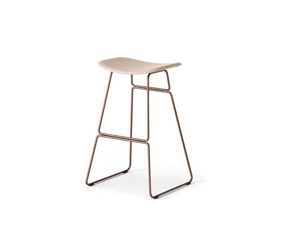 sketch fixed height breakfast bar stool with chrome frame and leather upholstery