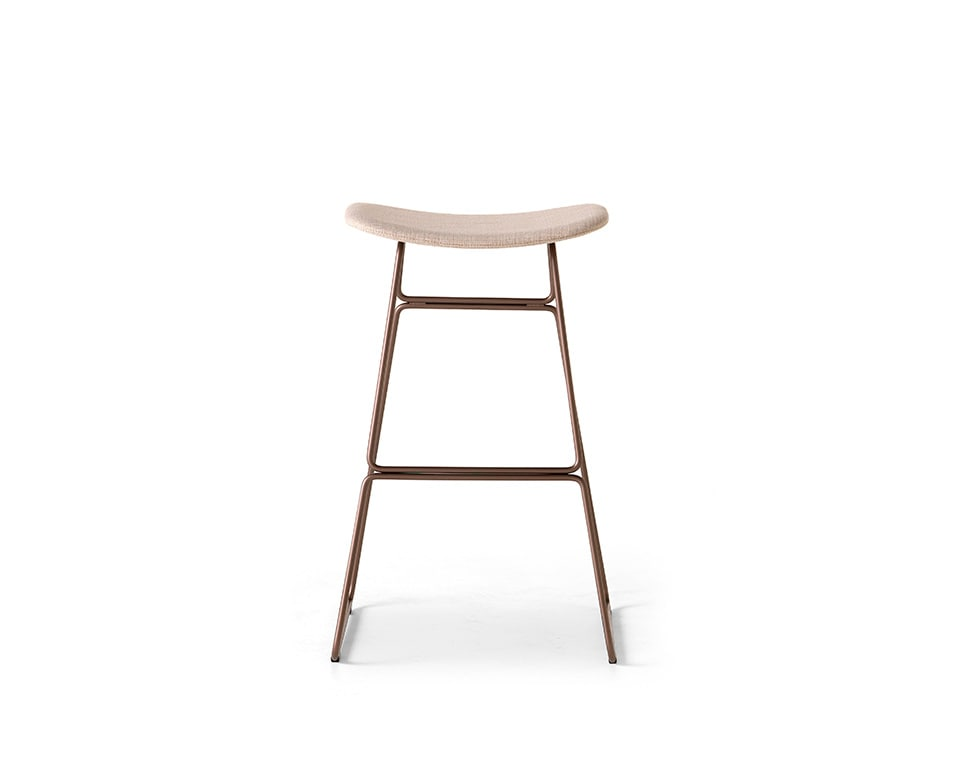 sketch fixed height bar stool with chrome frame and leather upholstery
